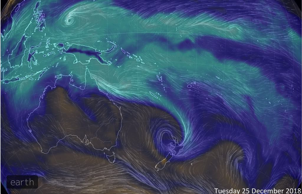 Screenshot showing a 'river' of rain arcing down to New Zealand from the tropics.