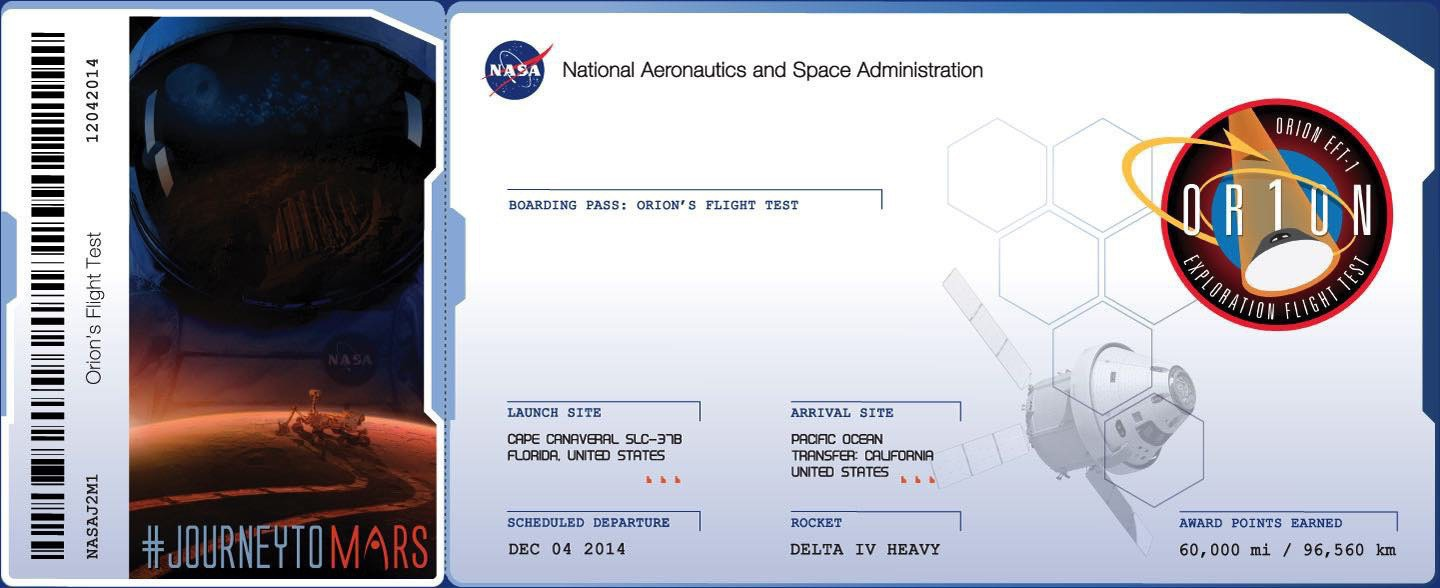 2014 Mars mission 'boarding pass'.