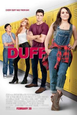 Film poster showing 4 main characters leaning against lockers in a school.