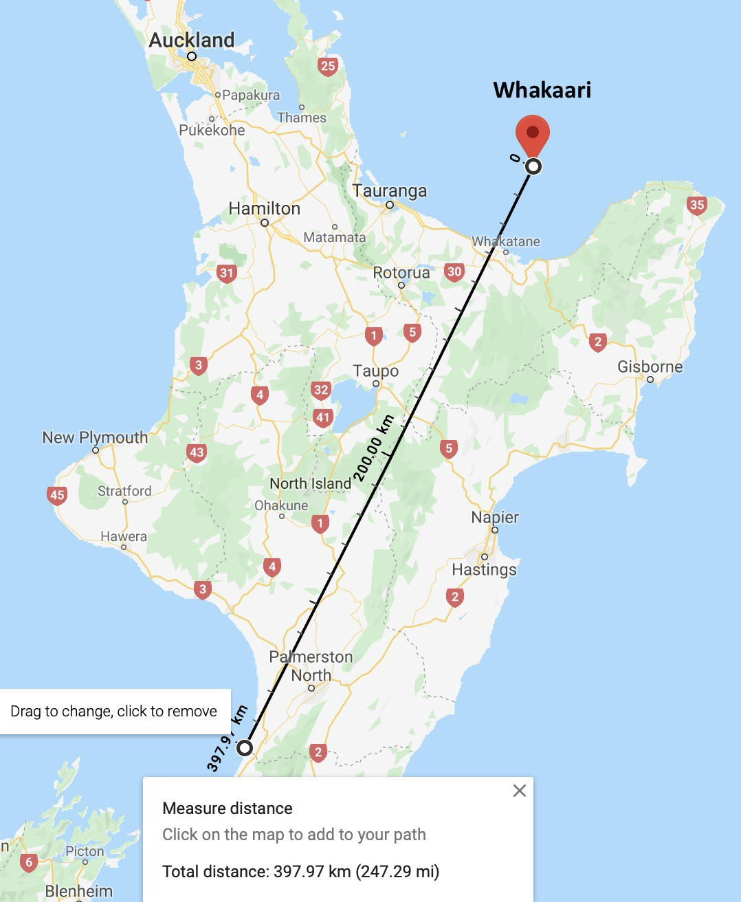 Map showing a 400Km distance from my home to Whakaari.