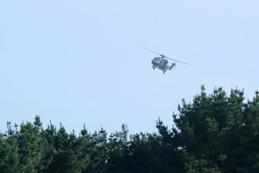 NH90 helicopter flying low over trees.