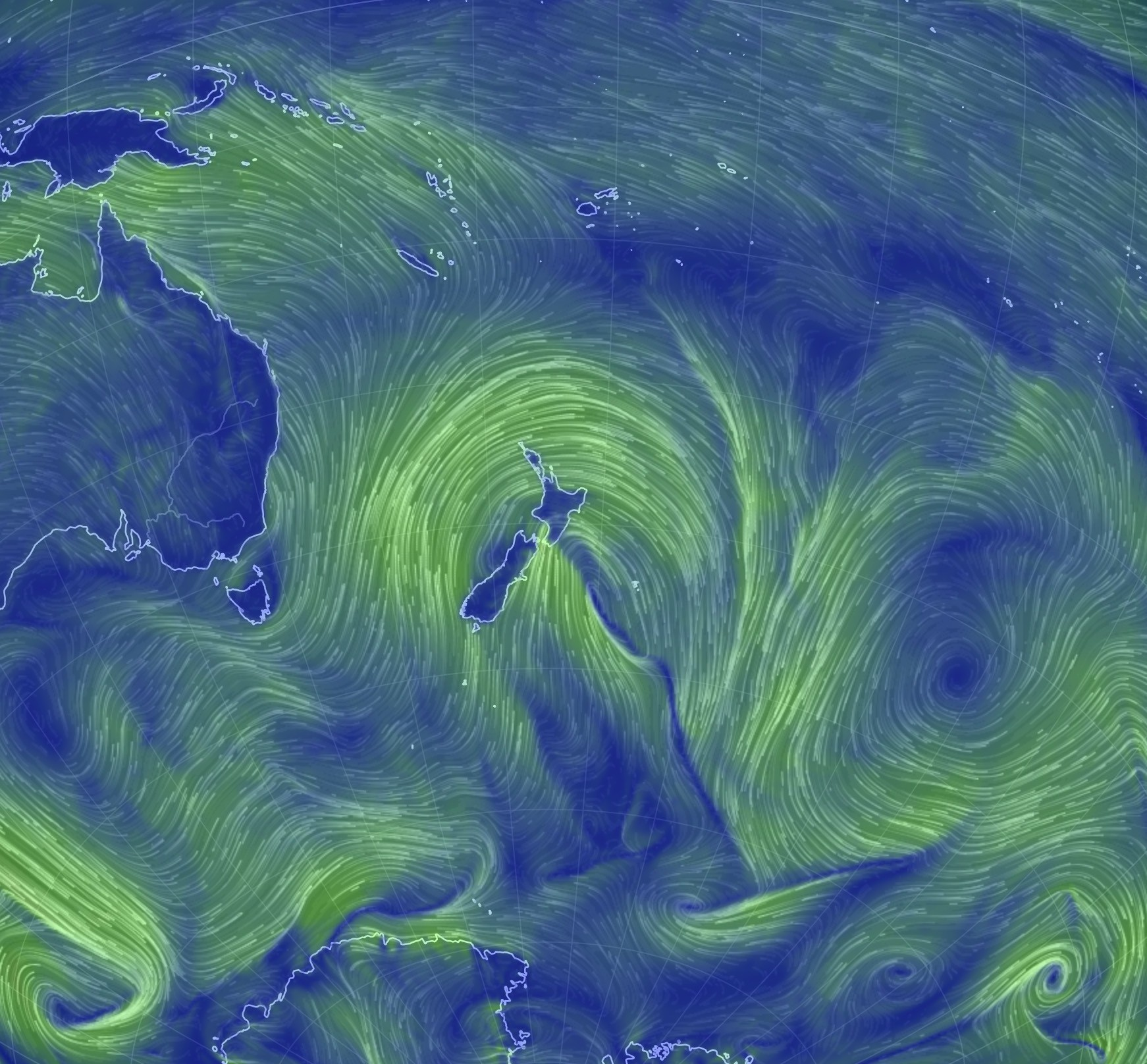 Zoomed out wind map showing strong winds in a storm centred on New Zealand with some air coming up from near Antarctica.