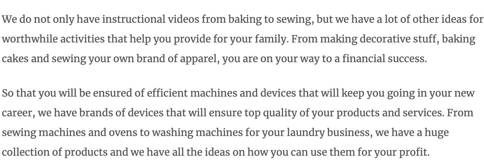 Screenshot of Wise Women website with articles about baking and sewing.