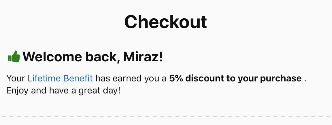 Portion of a web page at Checkout showing I've earned a loyalty benefit of 5% discount.