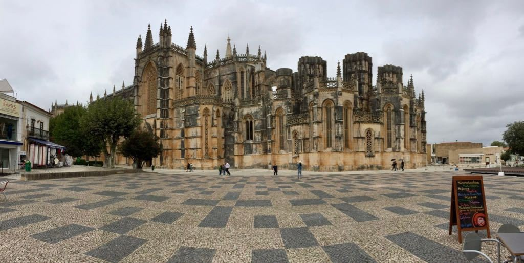 Batalha cathedral in Portugal is at the centre of a vast square.