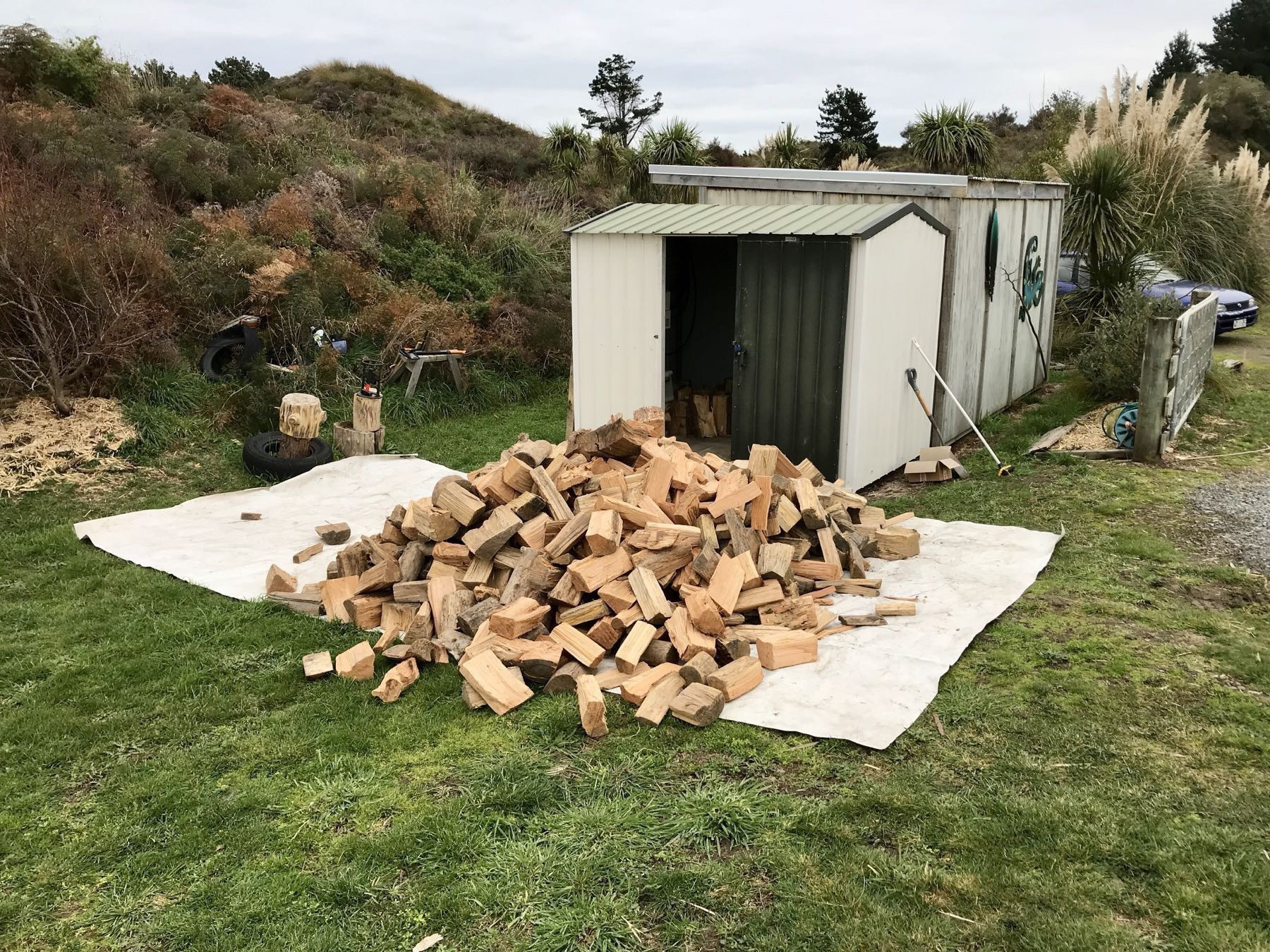 4 cubic metres of dry firewood outside the shed it needs to go into.