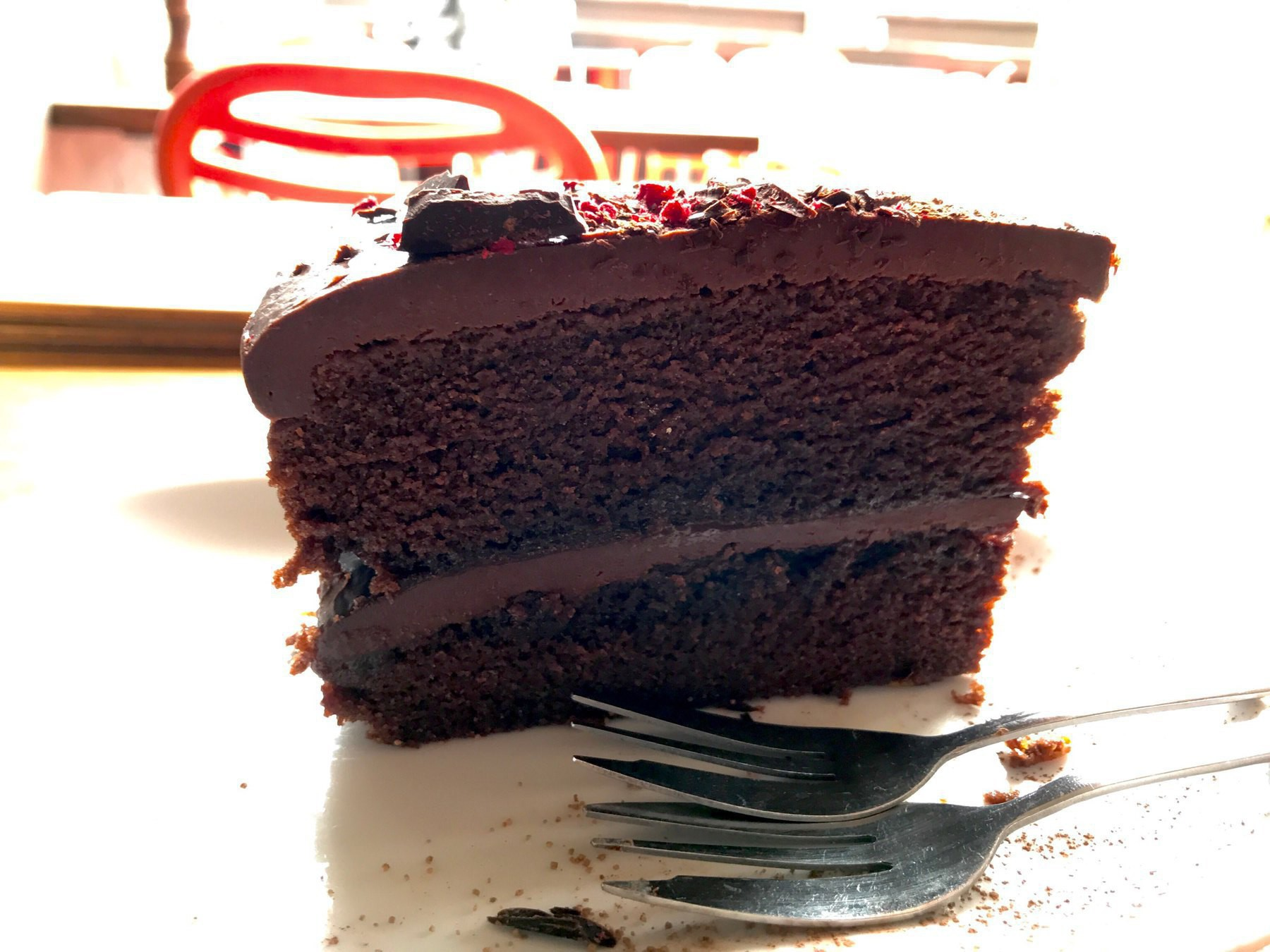 Large piece of chocolate cake.
