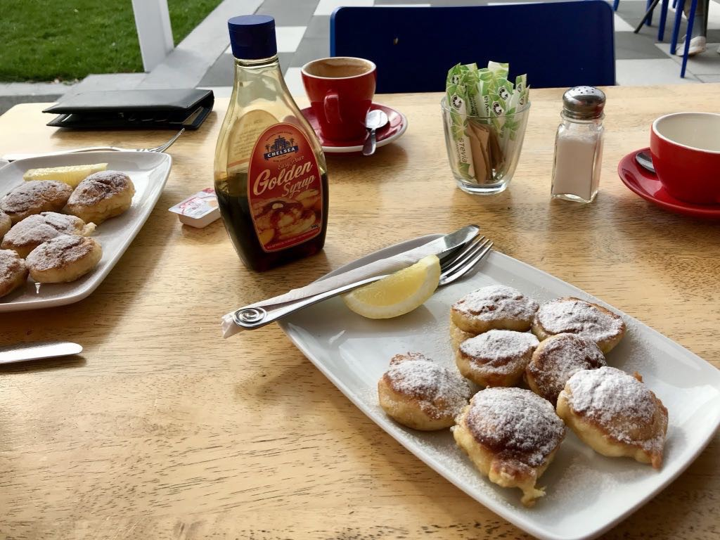 Poffertjes at Foxton, with lemon, icing sugar and golden syrup.