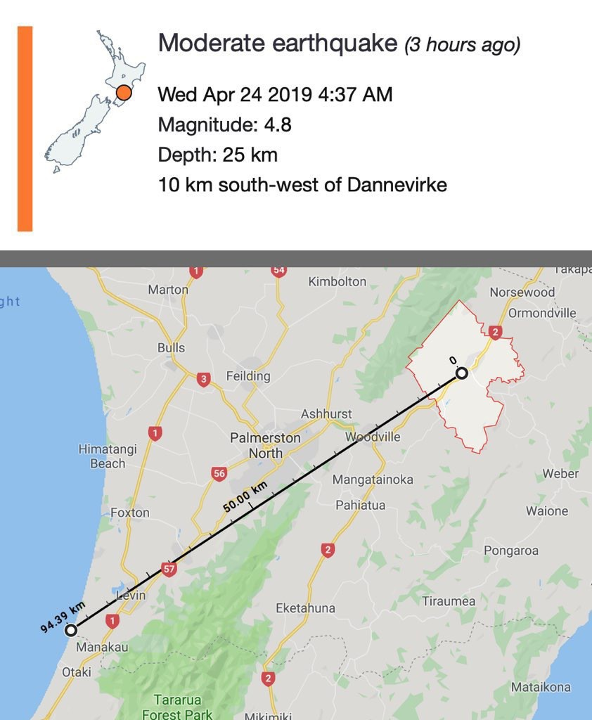 Earthquake note with map measuring approximate distance from where we live.