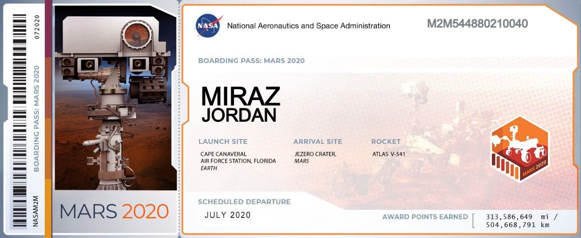 2020 Mars mission 'boarding pass'.