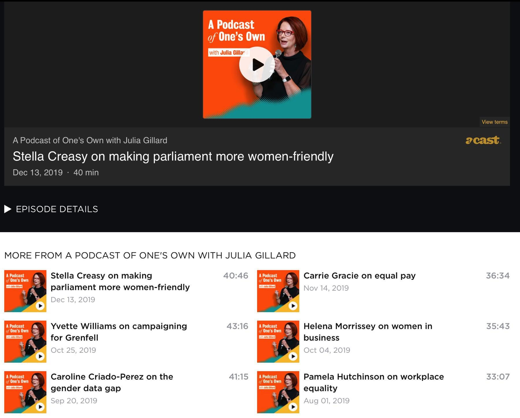 Screenshot of podcast page.