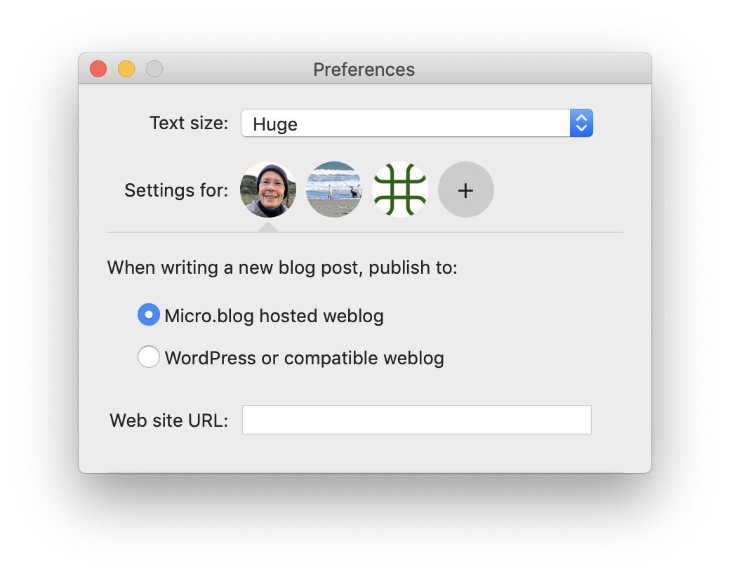 The Preferences window in the Micro.Blog Mac app.