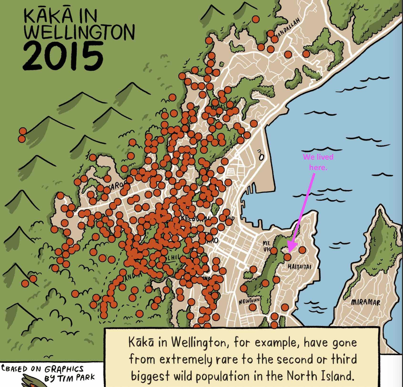 Map of Kākā distibution in 2015.