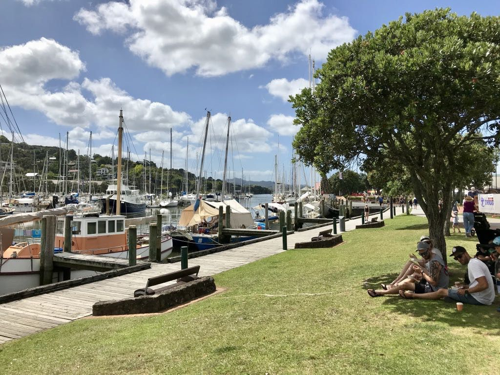People sitting on grass beside a marina.