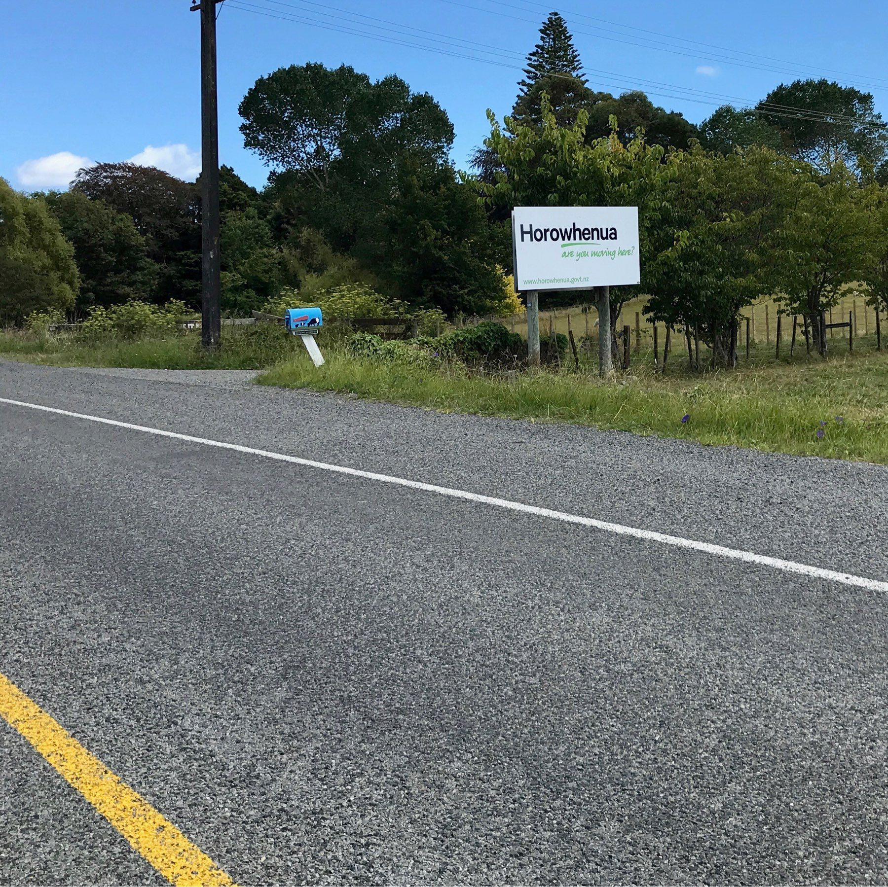 A sign that says : Horowhenua are you moving here.