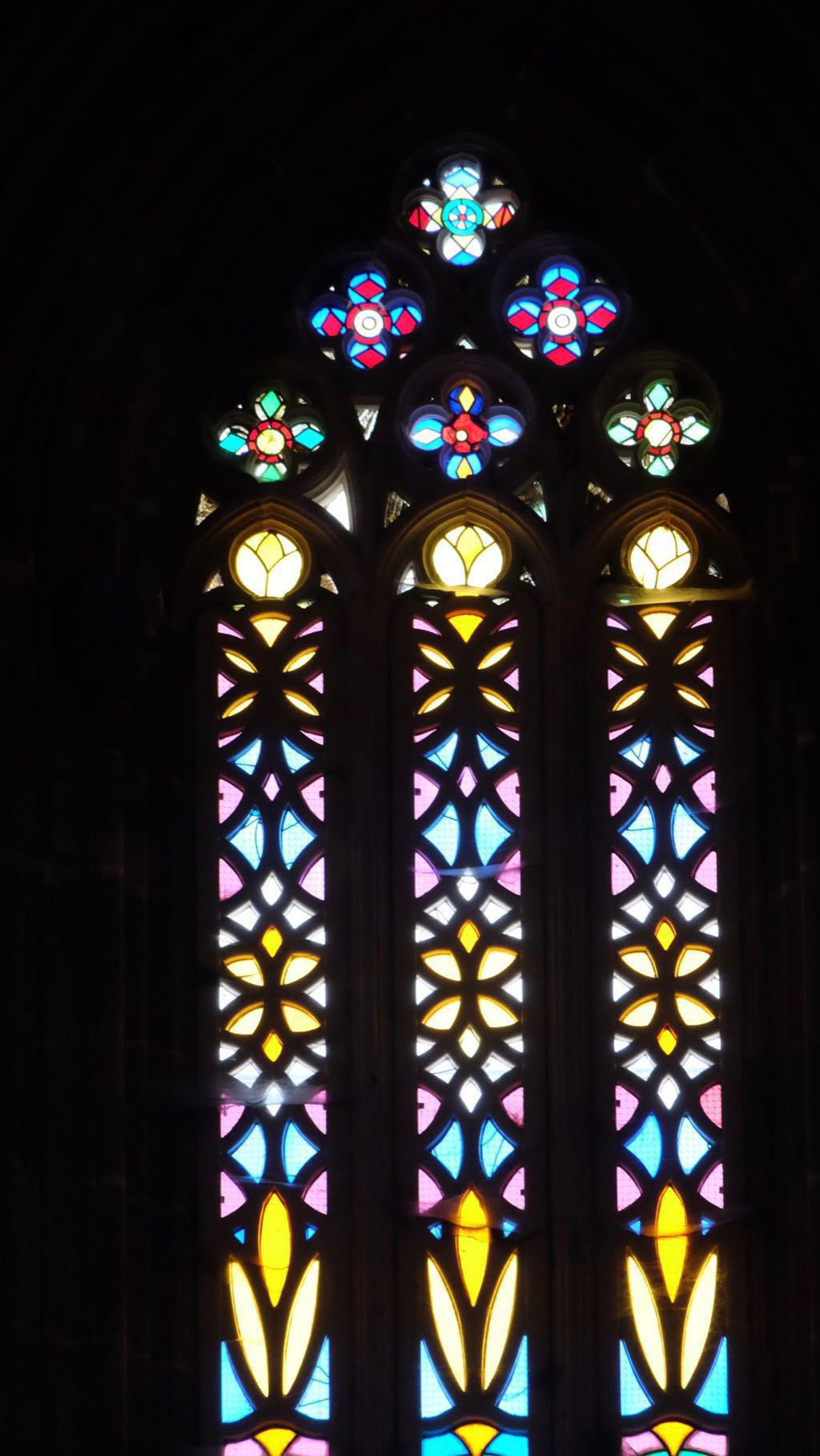 Batalha cathedral in Portugal - stained glass window.
