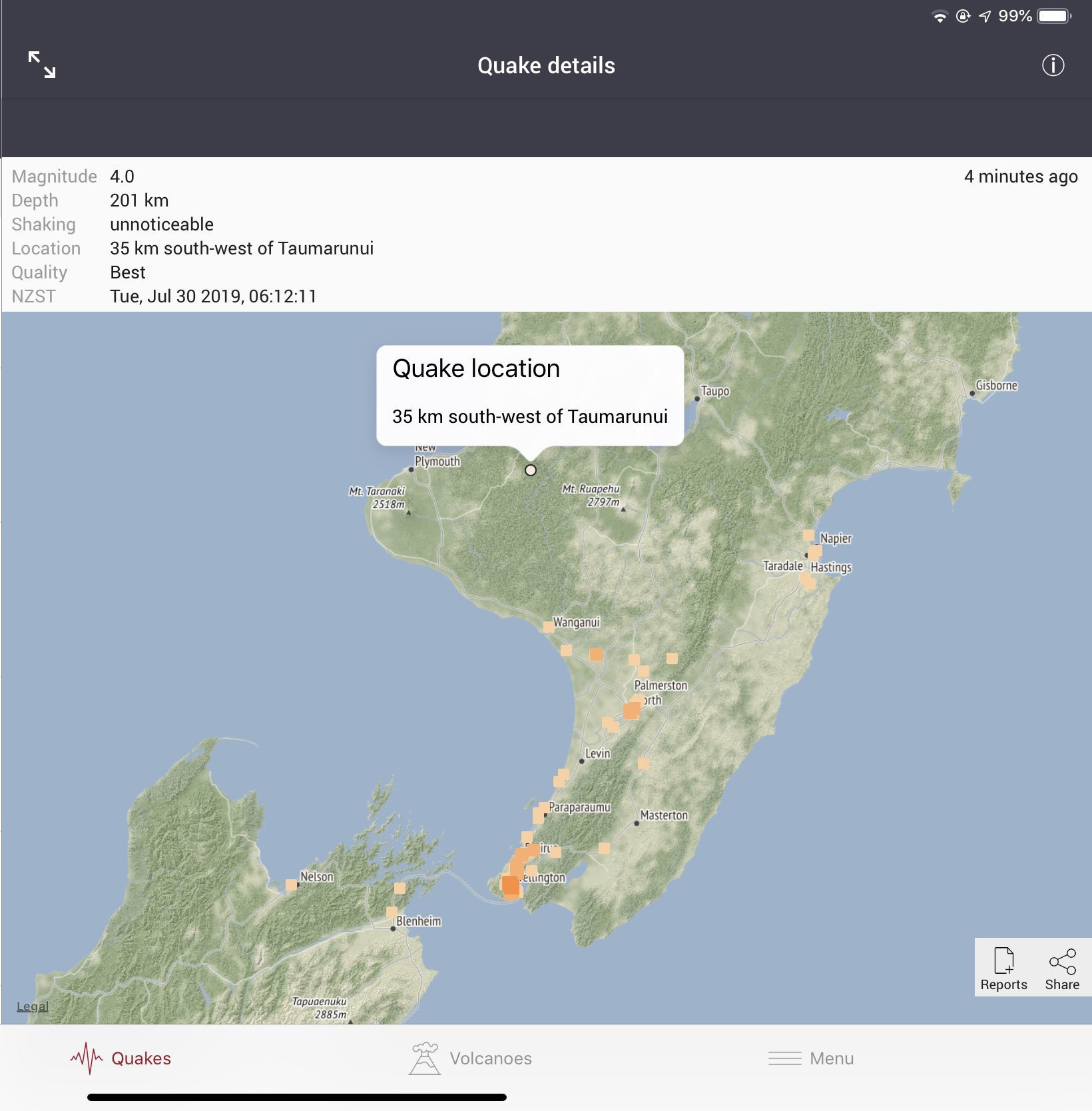Earthquake info on Geonet.