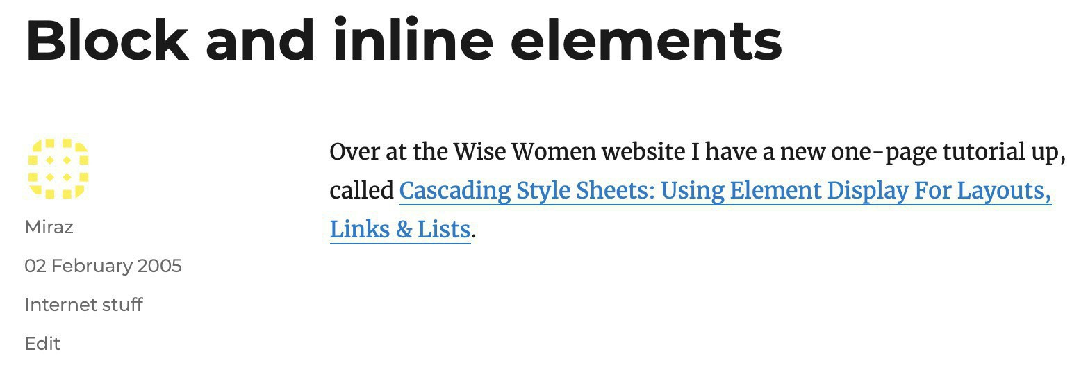 Screenshot of my blog post linking to an article about CSS.