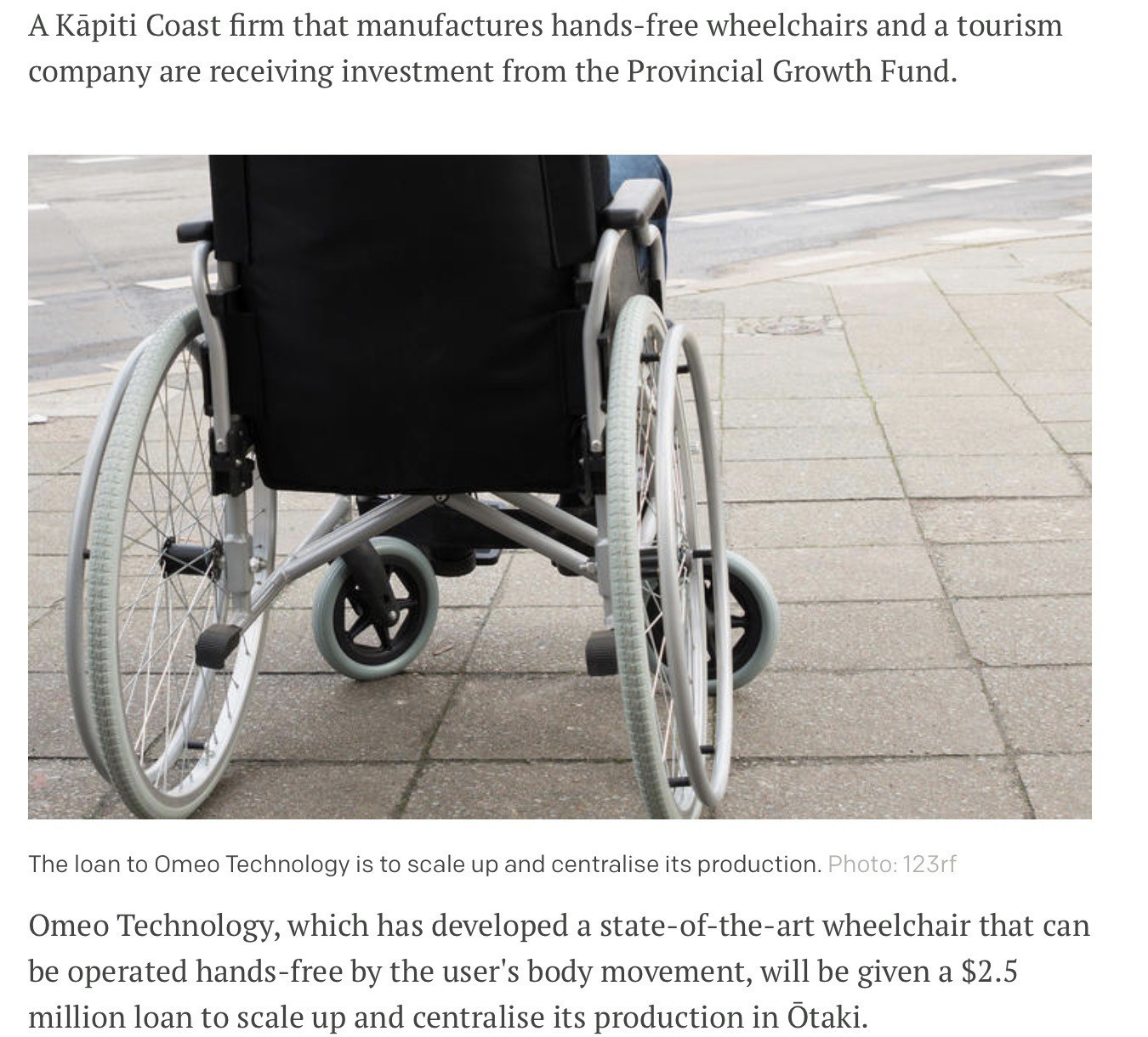 Radio NZ screenshot of story showing old-fashioned wheelchair as an illustration.