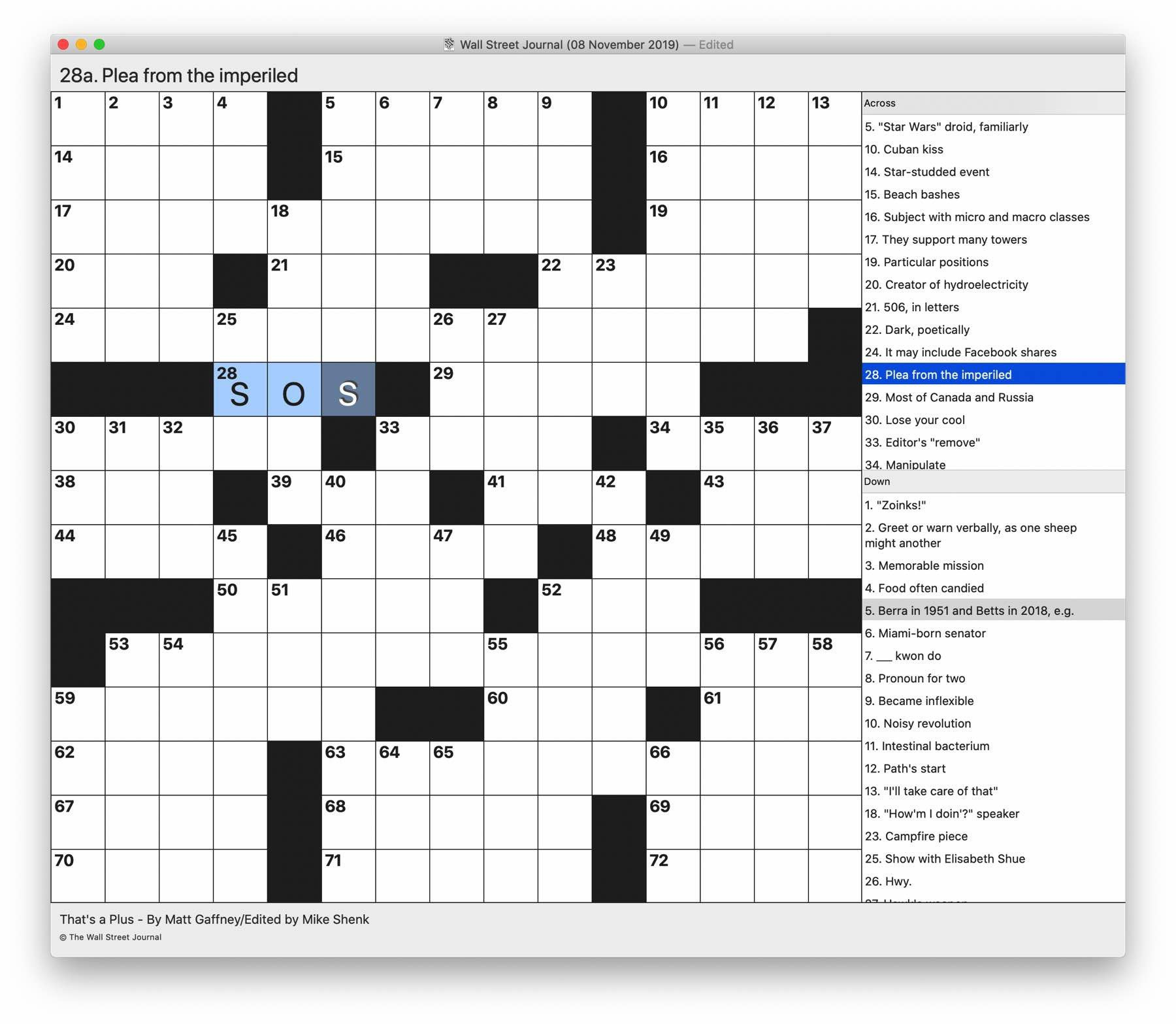 An almost empty crossword displayed by Black Ink 2.0.