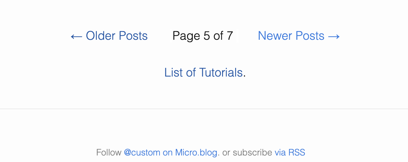 Page numbering with links to older and newer posts.