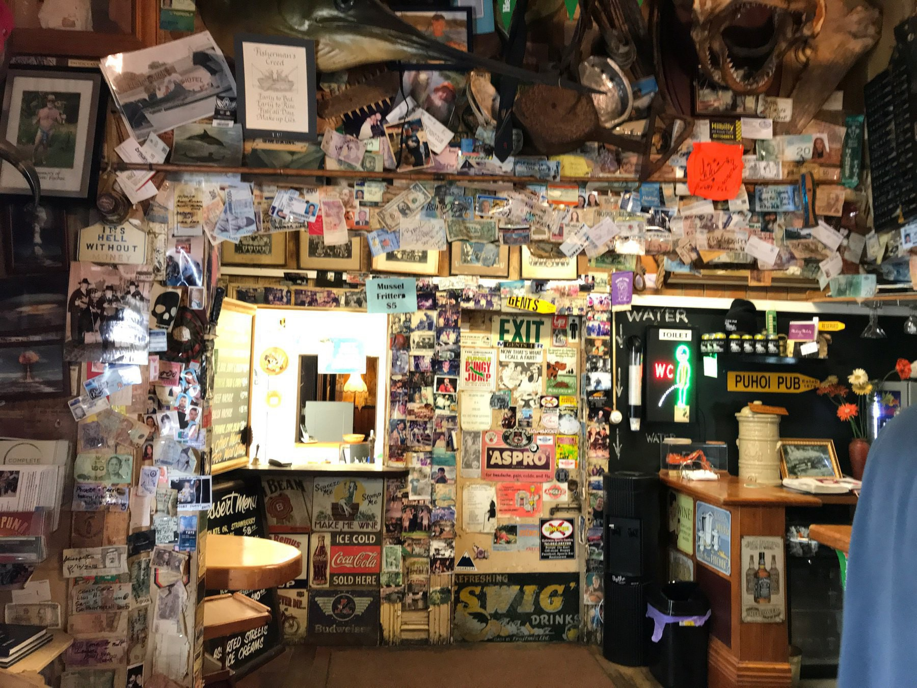 Walls of the pub absolutely covered with pictures, postcards and other paraphernalia.