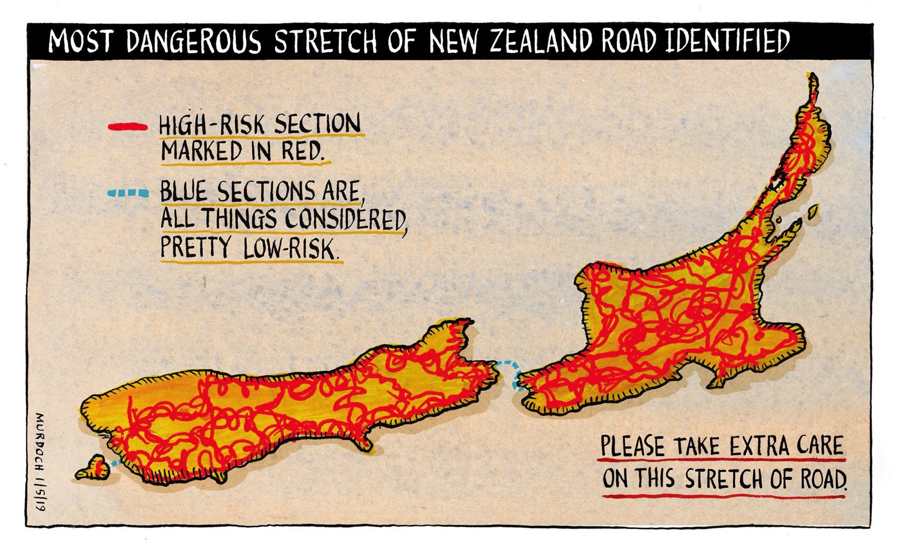 Pseudo map of New Zealand's roads, ALL marked in red for high-risk. Two ferry crossings are marked in blue as comparatively low risk.