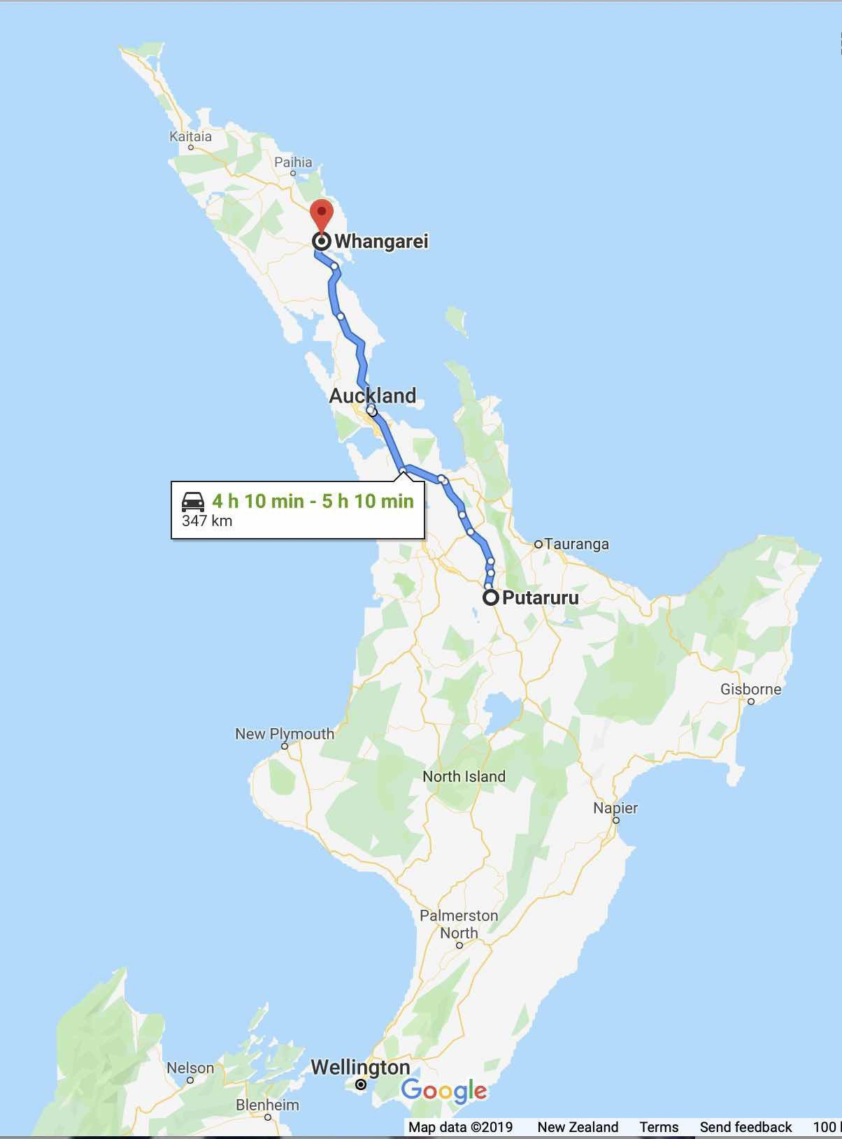 Map showing the North Island with the route from Putaruru to Whanārei marked.