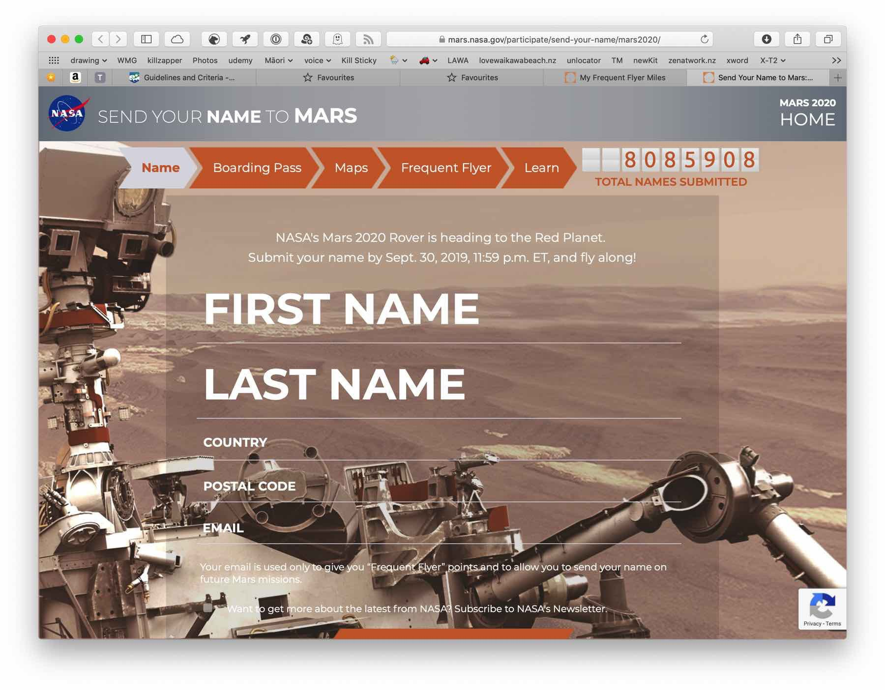 Screenshot: send your name to Mars page.