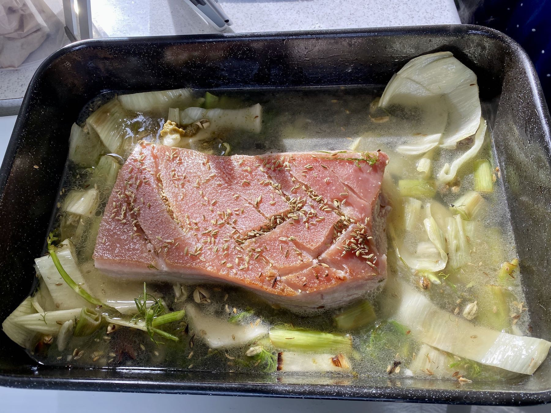Pork belly ready to go in the oven.