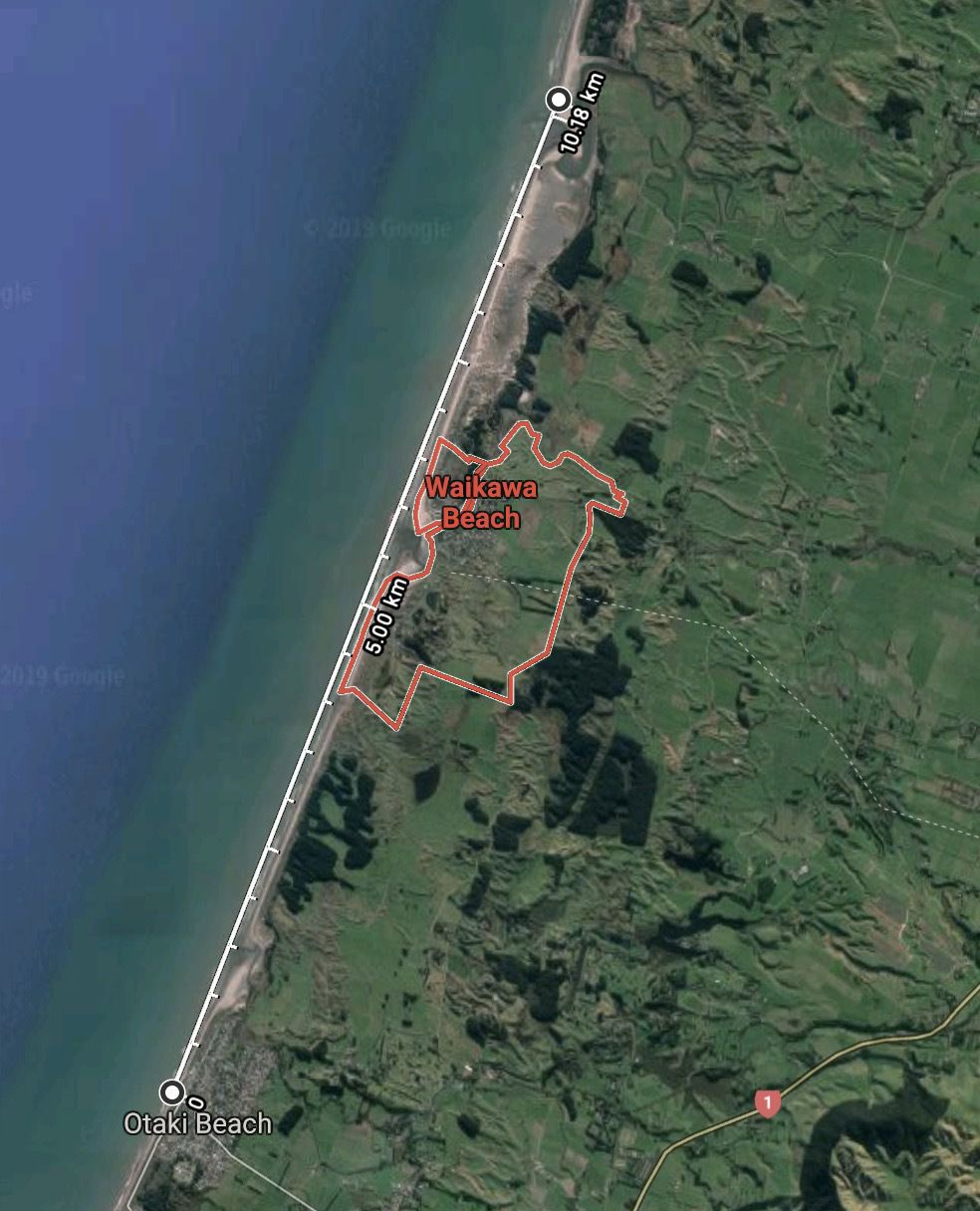 Map showing 10 Km of west coast beach between Ōtaki in the south and Kuku in the north.