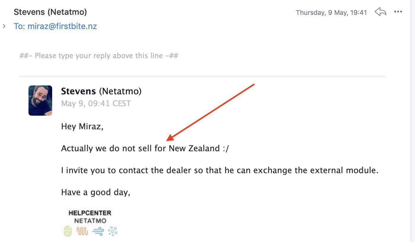 Screenshot from an email saying module not sold in NZ.