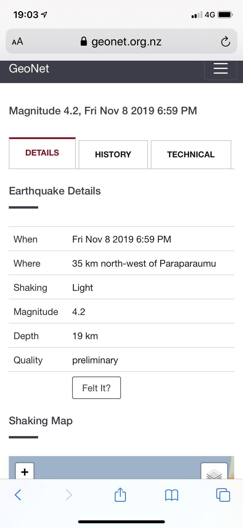 Date, time, magnitude and location of the quake.