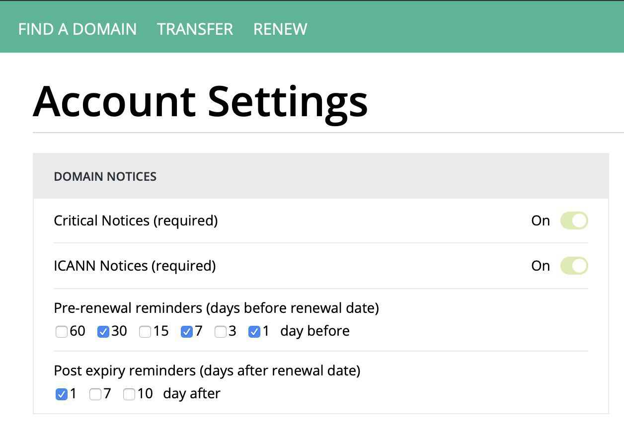 Settings in Hover that allow repeated reminders before and after expiration at various intervals.