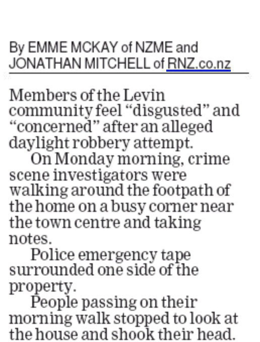 Newspaper article includes the text: Police emergency tape surrounded one side of the property.