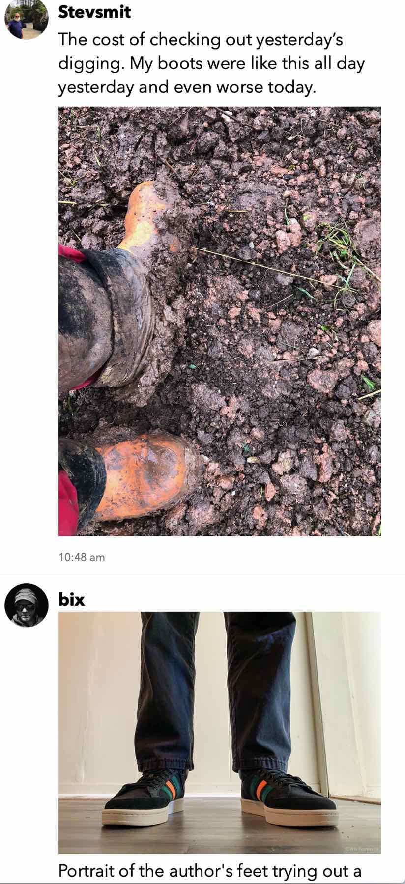 Micro.Blog timeline showing adjacent pictures of feet wearing gumboots or sneakers.
