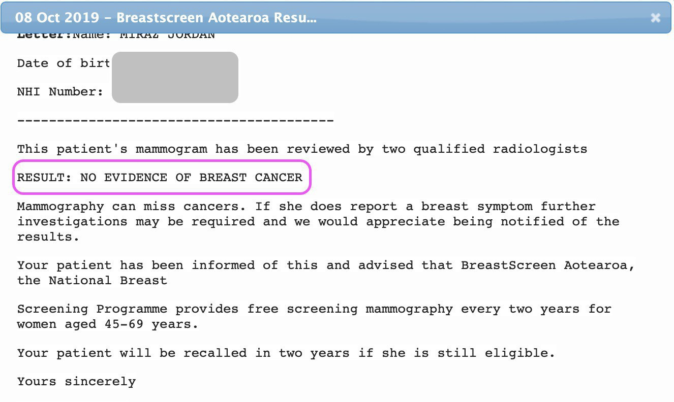 Breast screening results show no evidence of breast cancer.