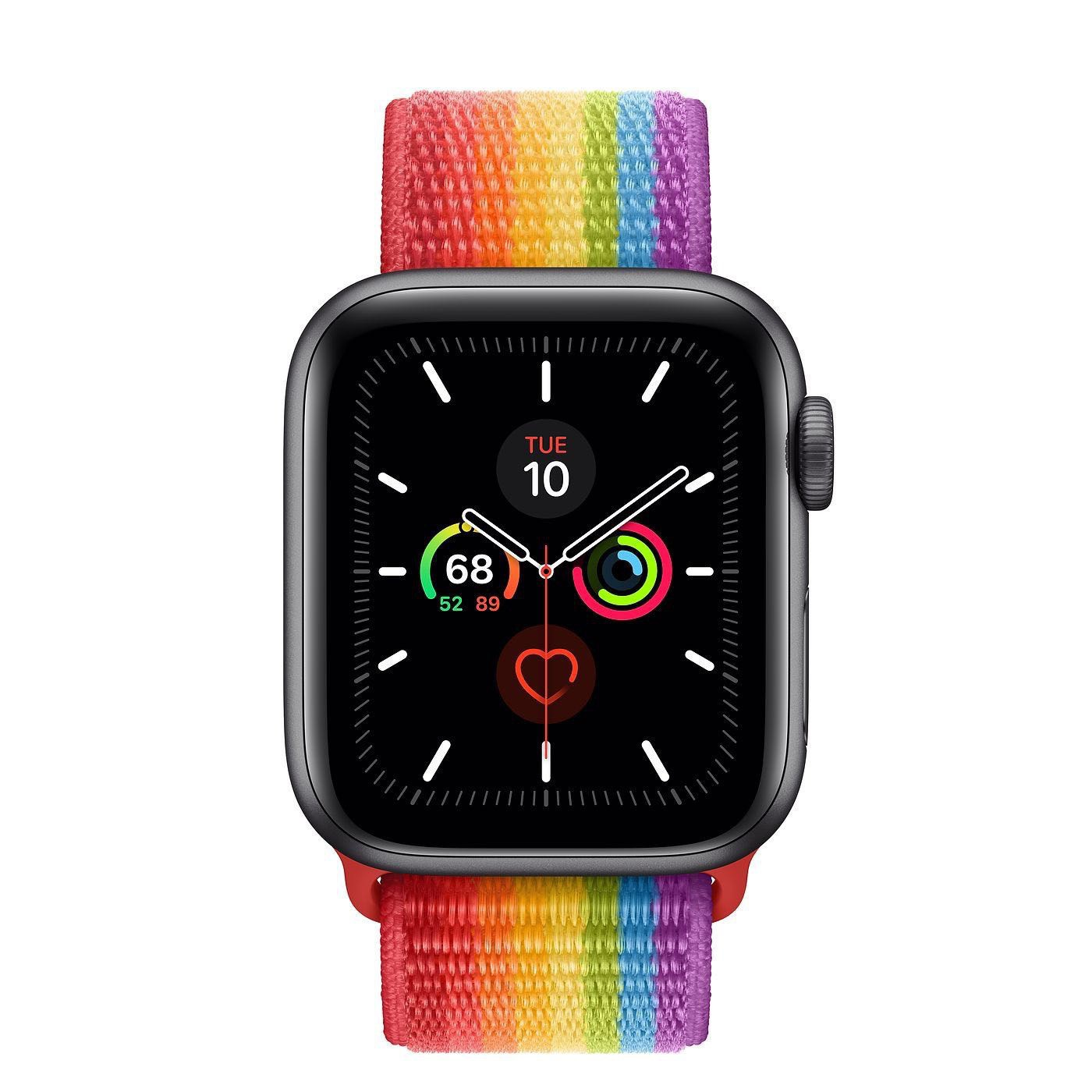 Space Grey Apple watch with rainbow sport loop.