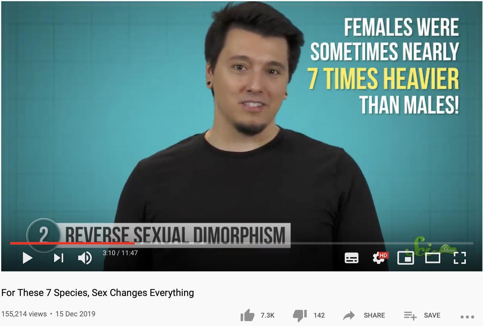 Screenshot from the video with text saying females were nearly 7 times heavier than males.