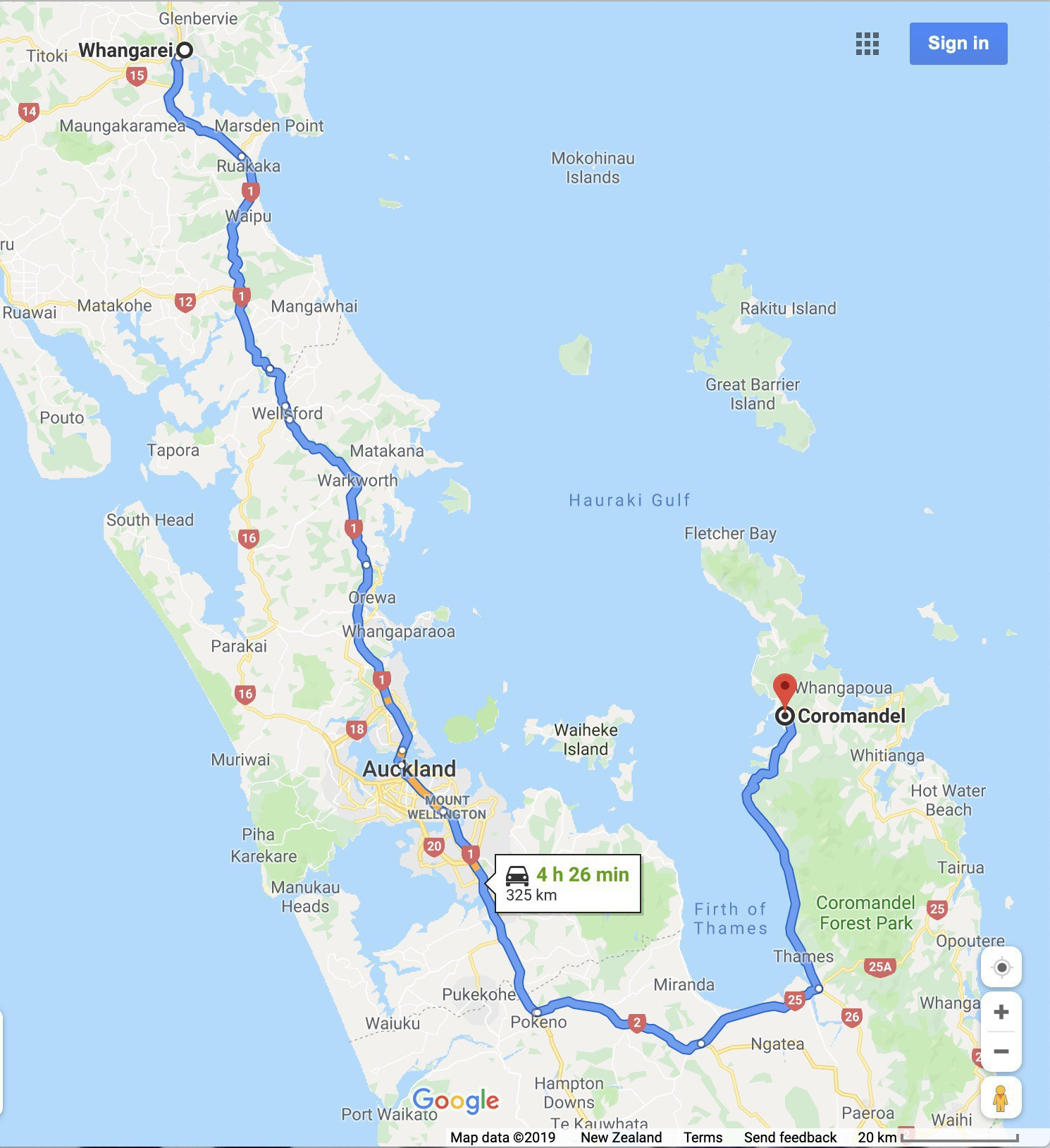 Map showing the route from Whangārei to Coromandel - a 4.5 hour drive.