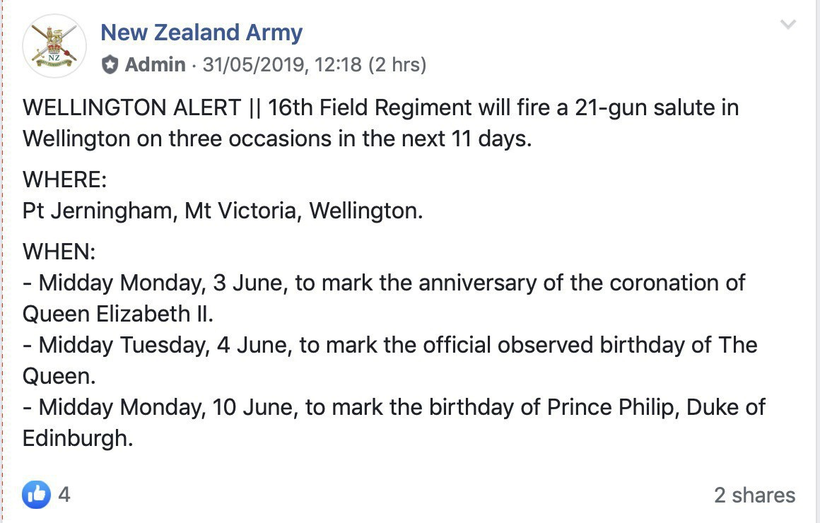 List of 3 dates coming up soon when there will be a 21-gun salute in honor of Royal birthdays.