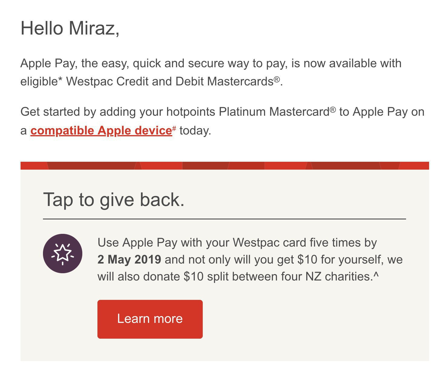Screenshot from email: Apple Pay is now available with Westpac in New Zealand.