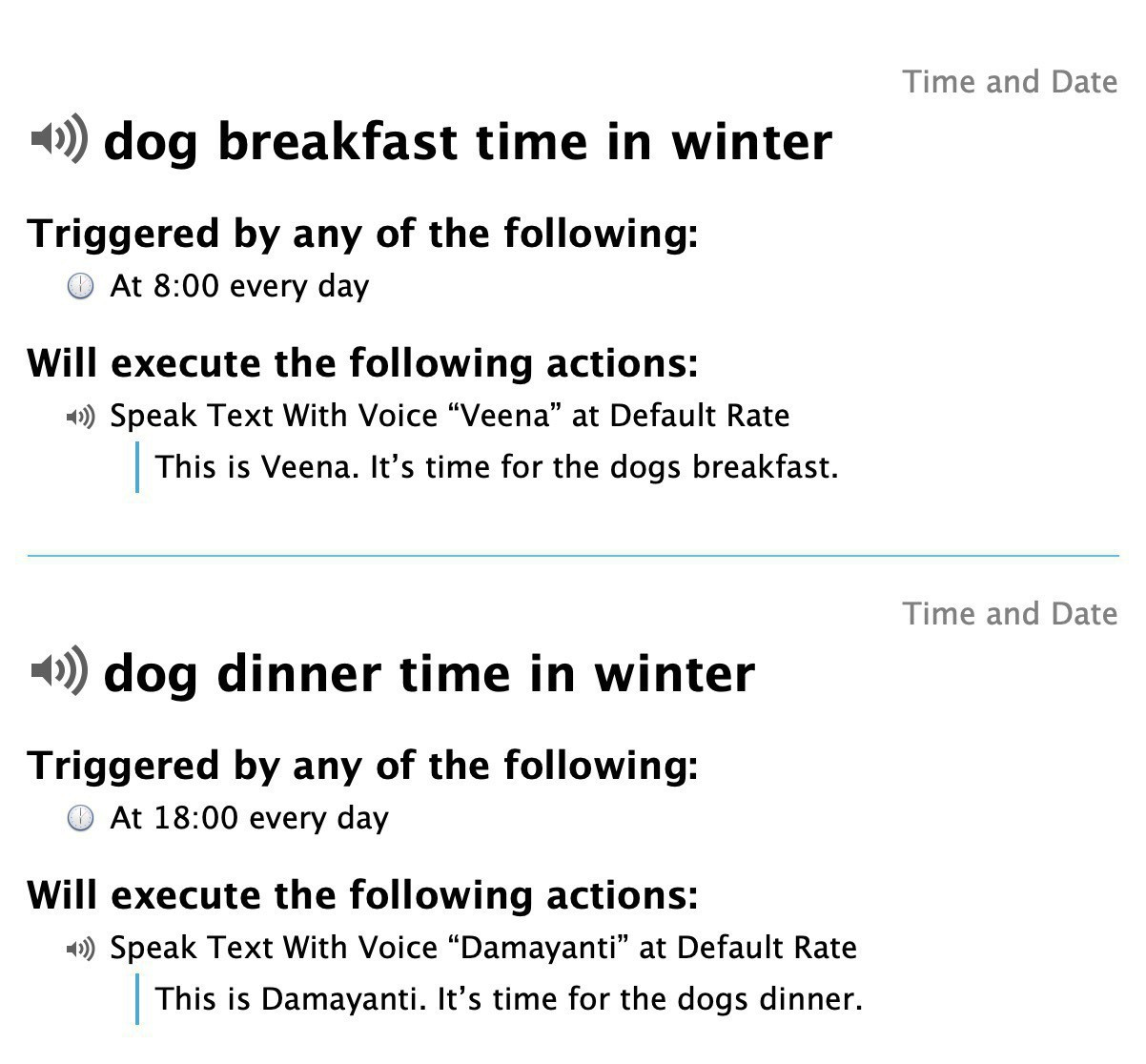 Screenshot of two Keyboard Maestro macros which remind me to feed the dogs at breakfast and dinner times.