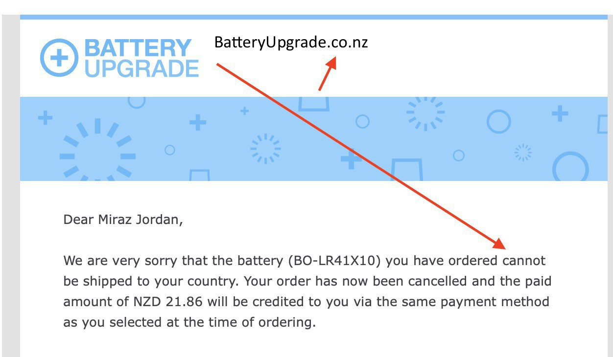 Screenshot from an email saying batteries can't be shipped to NZ.
