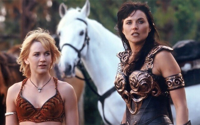 From left: Gabrielle, Argo the horse, Xena.