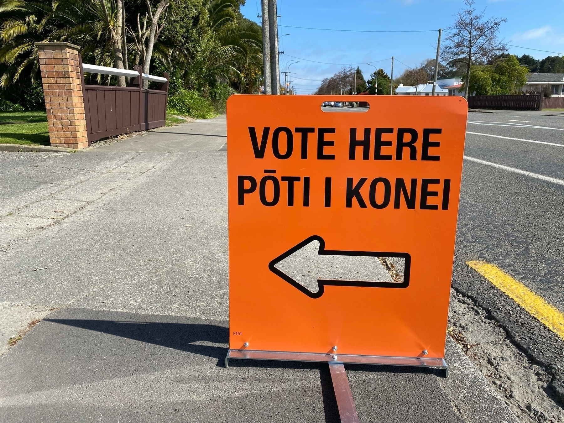 Polling booth sign.