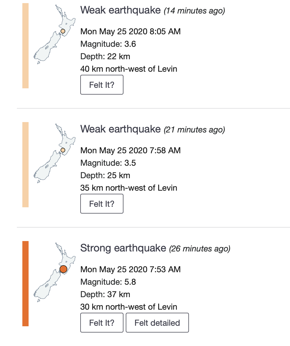 List of earthquakes, including the 5.8.