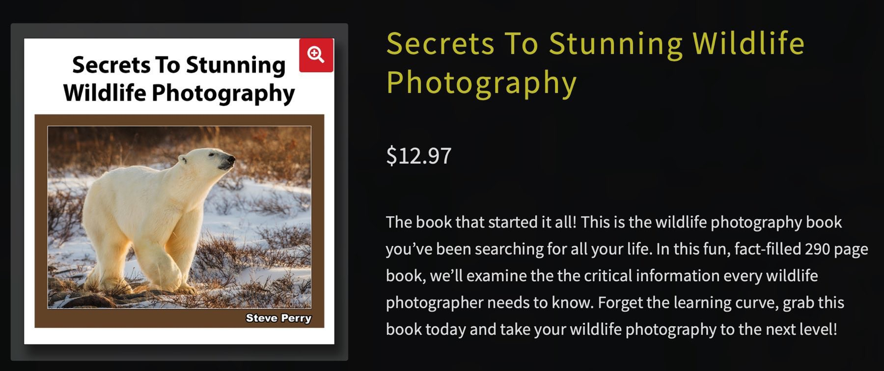Secrets To Stunning Wildlife Photography, web page screenshot.