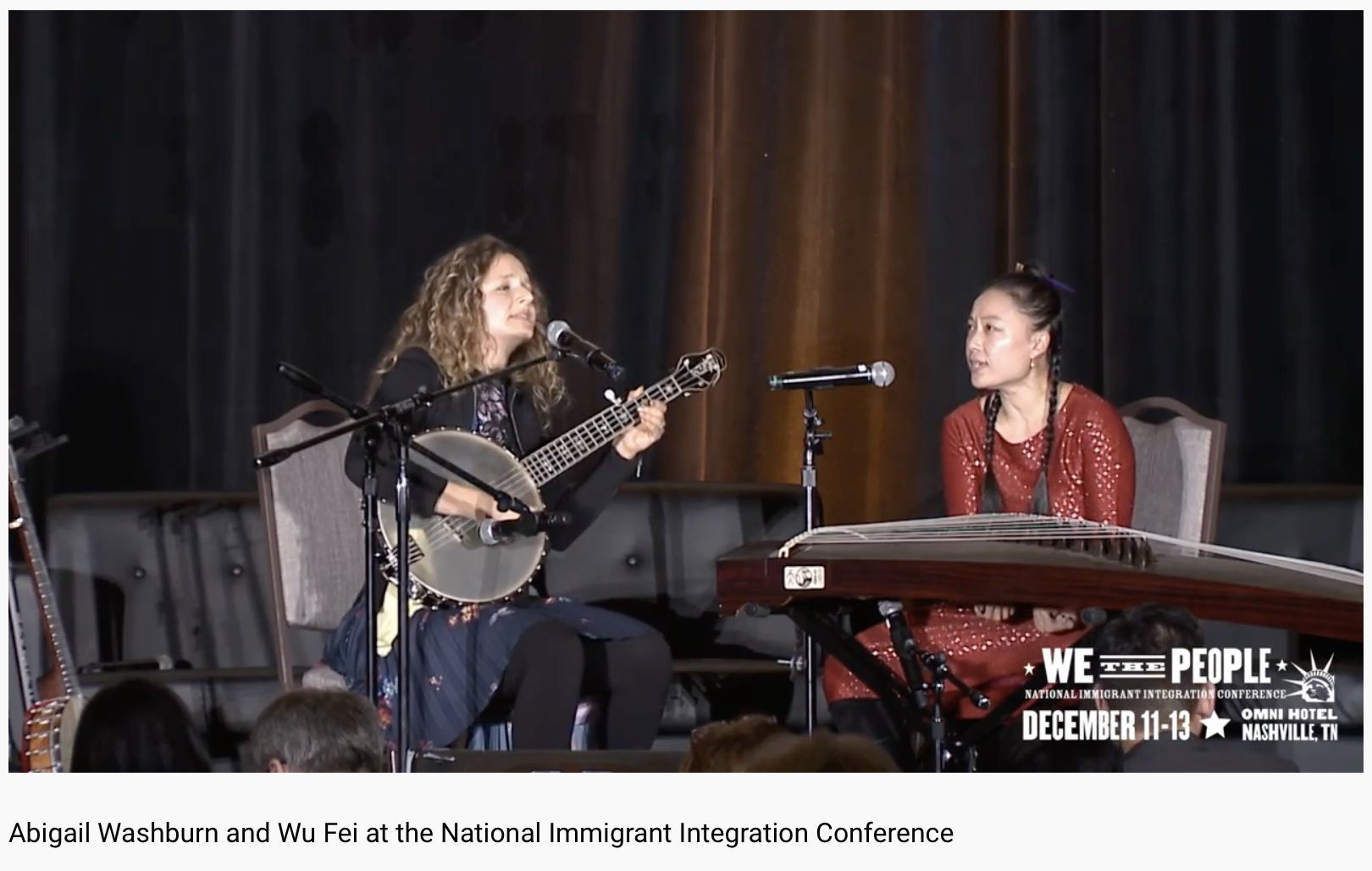Still from the video showing Abigail Washburn and Wu Fei performing at the National Immigrant Integration Conference in 2016.