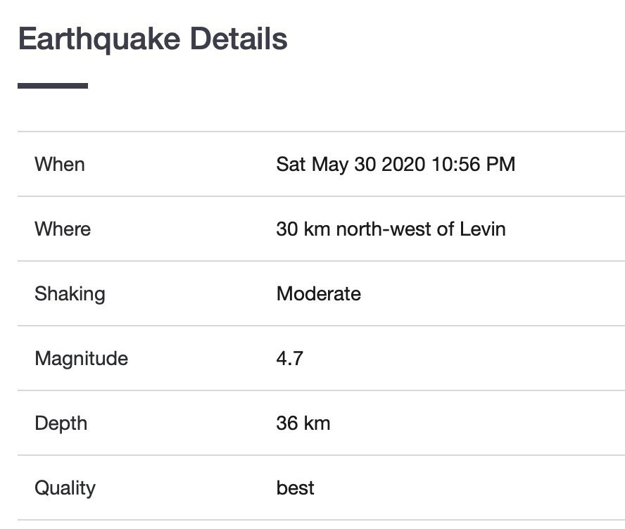 Screenshot of earthquake report.